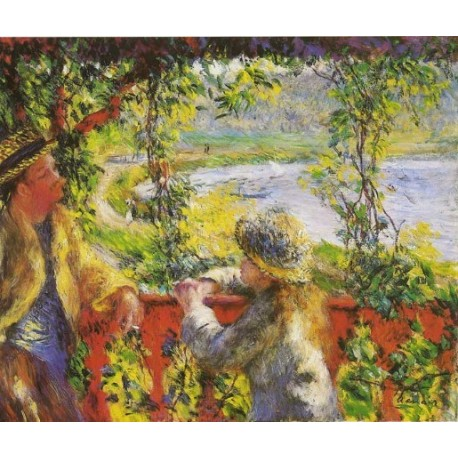 By the Lake 1880 by Pierre Auguste Renoir-Art gallery oil painting reproductions