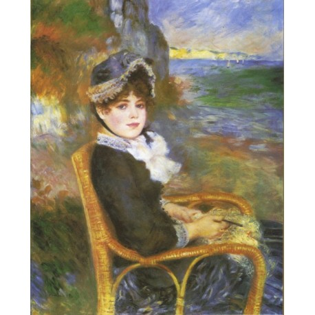 By the Seashore 1883 by Pierre Auguste Renoir-Art gallery oil painting reproductions
