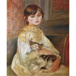 Child with Cat 1887 by Pierre Auguste Renoir-Art gallery oil painting reproductions