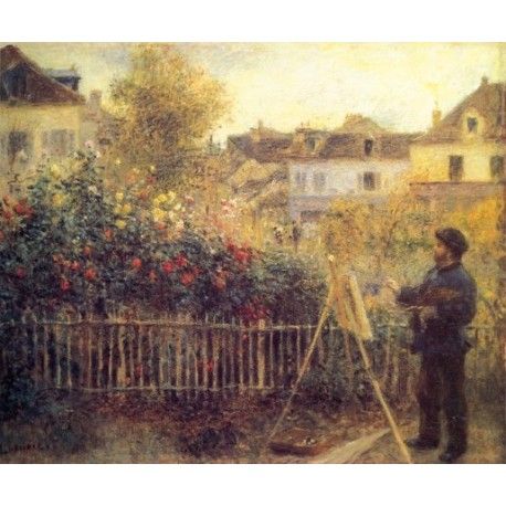 Claude Monet Painting in his Garden at Argenteuil 1875 by Pierre Auguste Renoir-Art gallery oil painting reproductions