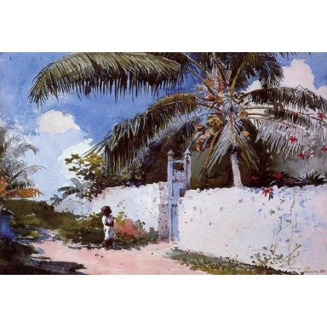 A Garden in Nassau by Winslow Homer - Art gallery oil painting reproductions