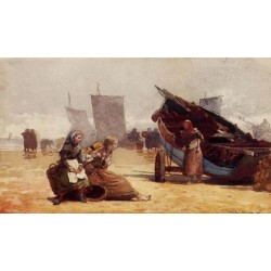 Beach Scene, Cullercoats by Winslow Homer - Art gallery oil painting reproductions