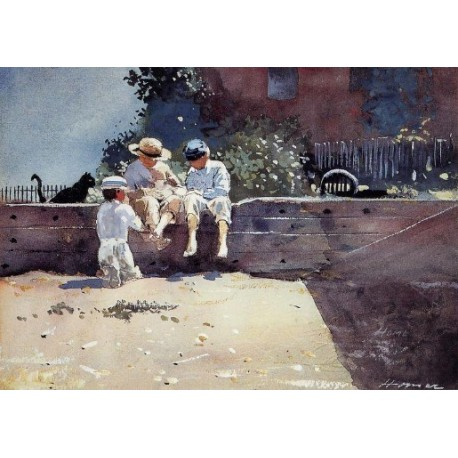 Boys and Kitten by Winslow Homer - Art gallery oil painting reproductions