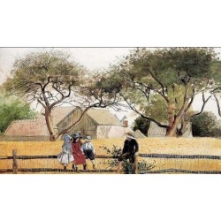 Children on a Fence by Winslow Homer - Art gallery oil painting reproductions