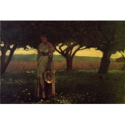 Girl in the Orchard by Winslow Homer - Art gallery oil painting reproductions