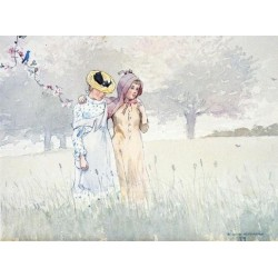 Girls Strolling in an Orchard by Winslow Homer - Art gallery oil painting reproductions