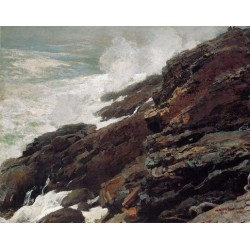 High Cliff, Coast of Maine by Winslow Homer - Art gallery oil painting reproductions