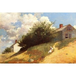 Houses on a Hill by Winslow Homer - Art gallery oil painting reproductions