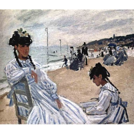 On The Beach at Trouville by Claude Oscar Monet - Art gallery oil painting reproductions