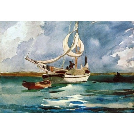 Sloop, Bermuda by Winslow Homer - Art gallery oil painting reproductions