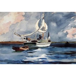 Sloop, Nassau by Winslow Homer - Art gallery oil painting reproductions
