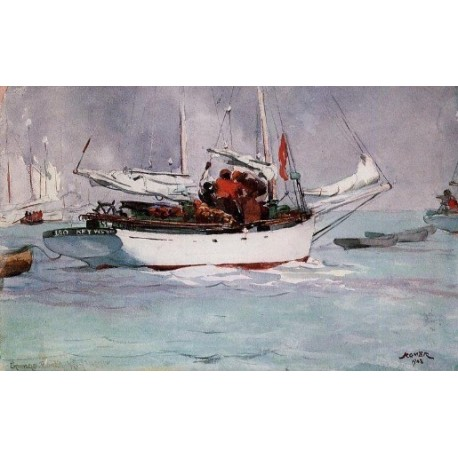 Sponge Boats, Key West by Winslow Homer - Art gallery oil painting reproductions