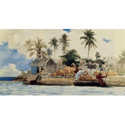 Sponge Fishing, Nassau by Winslow Homer - Art gallery oil painting reproductions