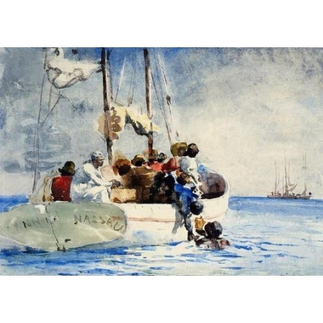 Sponge Fishing by Winslow Homer - Art gallery oil painting reproductions