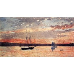 Sunset at Gloucester by Winslow Homer - Art gallery oil painting reproductions