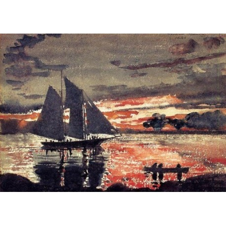 Sunset Fires by Winslow Homer - Art gallery oil painting reproductions