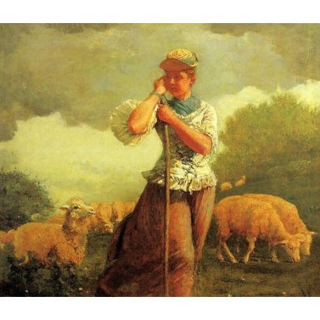 The Shepherdess by Winslow Homer - Art gallery oil painting reproductions