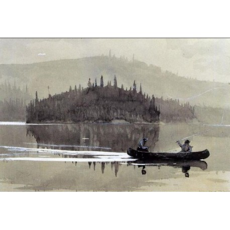 Two Men in a Canoe by Winslow Homer - Art gallery oil painting reproductions