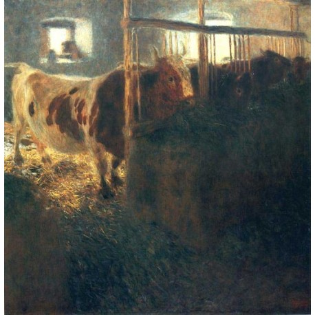Cows in a Stall by Gustav Klimt- Art gallery oil painting reproductions