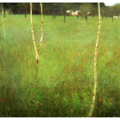 Farmhouse with Birch Trees 2 by Gustav Klimt- Art gallery oil painting reproductions