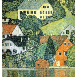 Houses at Unterach on the Attersee by Gustav Klimt- Art gallery oil painting reproductions