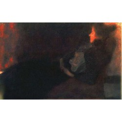 Lady by the Fireplace by Gustav Klimt- Art gallery oil painting reproductions