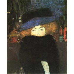 Lady with Hat and Featherboa by Gustav Klimt-Art gallery oil painting reproductions