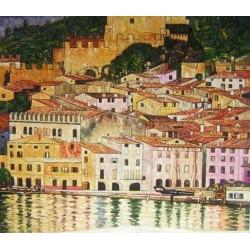 Malcesineon Lake Garda by Gustav Klimt-Art gallery oil painting reproductions