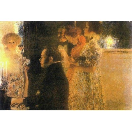Schubert at the Piano by Gustav Klimt-Art gallery oil painting reproductions