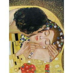 The Kiss, detail by Gustav Klimt-Art gallery oil painting reproductions