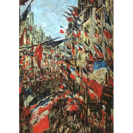 Rue Montargueil with Flags by Claude Oscar Monet - Art gallery oil painting reproductions
