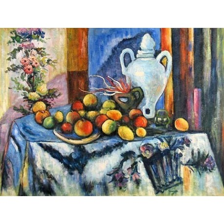 Blue Still Life by Paul Cezanne -Art gallery oil painting reproductions