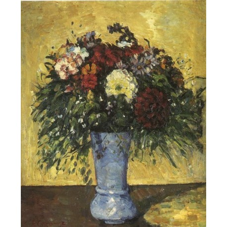 Bouquet in a Blue Vase, 1873 by Paul Cezanne-Art gallery oil painting reproductions