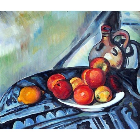 Fruit and a Jug on a Table by Paul Cezanne -Art gallery oil painting reproductions