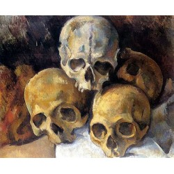 Pyramid of Skulls by Paul Cezanne-Art gallery oil painting reproductions