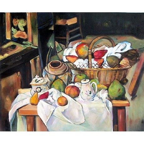 Still Life with Basket by Paul Cezanne-Art gallery oil painting reproductions