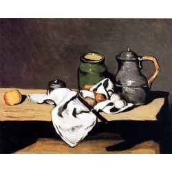 Still Life with Green Pot and Pewter Jug by Paul Cezanne-Art gallery oil painting reproductions