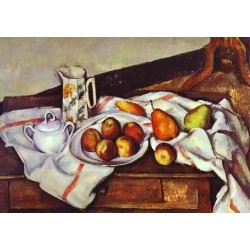 Still Life with Peaches and Pears by Paul Cezanne-Art gallery oil painting reproductions