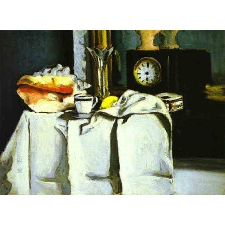 The Black Clock by Paul Cezanne-Art gallery oil painting reproductions