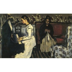 Young Girl at the Piano by Paul Cezanne - Overture to Tannhauser, 1868-Art gallery oil painting reproductions