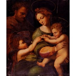 Holy Famliy With Saint John The Baptist by Raphael Sanzio-Art gallery oil painting reproductions