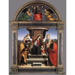 Madonna and Child Enthroned with Saints by Raphael Sanzio-Art gallery oil painting reproductions