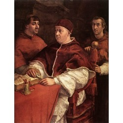 Pope Leo X with Cardinals Giulio de Medici and Luigi de Rossi by Raphael Sanzio-Art gallery oil painting reproductions