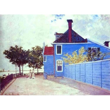 The Blue House in Zaandam by Claude Oscar Monet - Art gallery oil painting reproductions