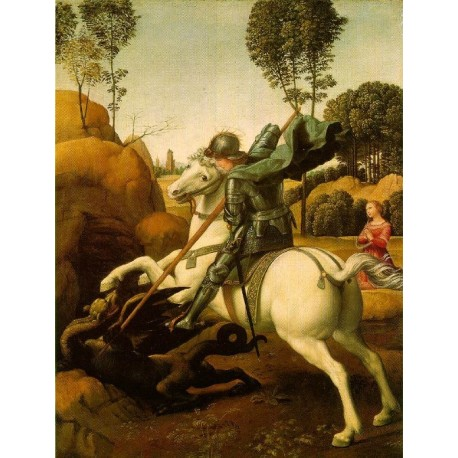 St. George Fighting the Dragon 1504-06 by Raphael Sanzio-Art gallery oil painting reproductions