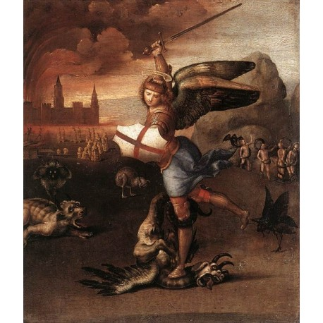 St. Michael and the Dragon by Raphael Sanzio-Art gallery oil painting reproductions
