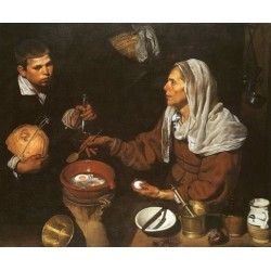 An Old Woman Frying Eggs 1618 by Diego Velazquez - Art gallery oil painting reproductions