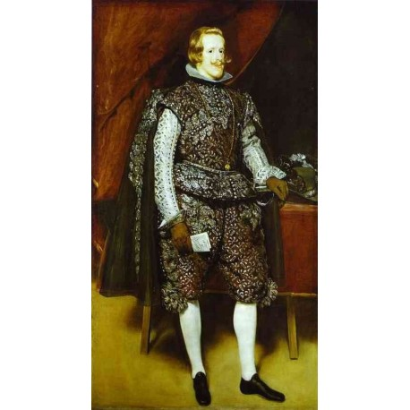 Philip IV in Brown and Silver 1632 by Diego Velazquez - Art gallery oil painting reproductions
