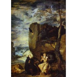 St. Anthony Abbot and St. Paul the Hermit 1635-38 by Diego Velazquez - Art gallery oil painting reproductions