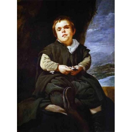 The Dwarf Francisco Lezcano 1645 by Diego Velazquez - Art gallery oil painting reproductions